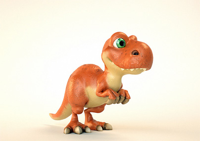 3D Cartoon Raptor Dinosaur
